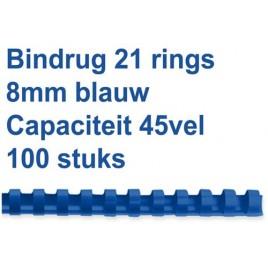 Bindrug GBC 8mm 21rings A4 rood100stuks