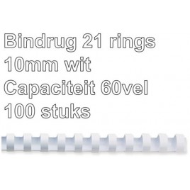 Bindrug GBC 10mm 21rings A4 wit 100stuks