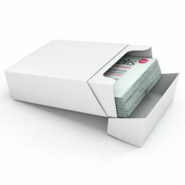Visitekaartdoos, bruin, kraft, 290g/m2, 60mm x 95mm x 36mm, doos met 250 stuks
