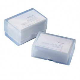 Visitekaartdoos, voor 100 vellen/kaarten, PP, transparant, 97mm x 62mmx36mm, doos met 250 stuks
